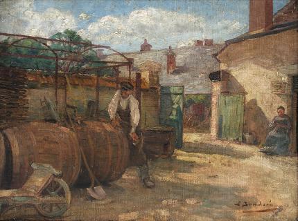 "Sven Birger Sandzen, ""Untitled"", oil, circa 1894 painting"