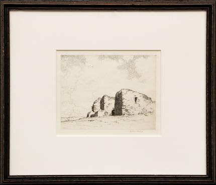 "Arthur W Hall, ""Pecos; edition of 350"", etching, 1930, graphic work for sale purchase consign auction denver Colorado art gallery museum"