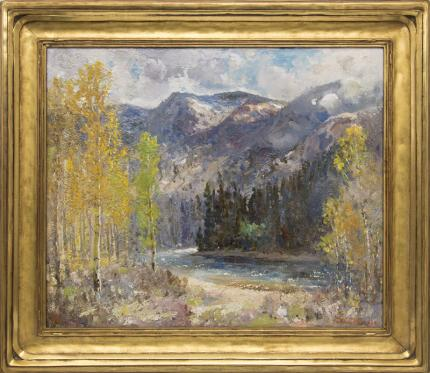 """Fremont Ellis, """"Time of Autumn (Chama River, New Mexico)"""", oil painting fine art for sale purchase buy sell auction consign denver colorado art gallery museum"""
