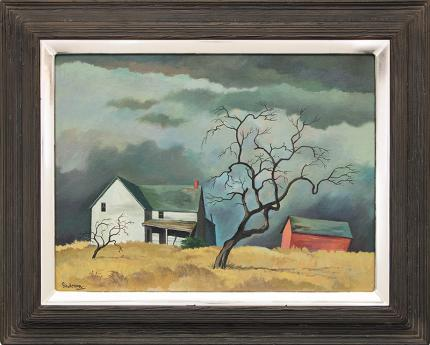 """William Sanderson, """"Red Barn and Tree (Colorado)"""", oil, circa 1970 fine art for sale purchase buy sell auction consign denver colorado art gallery museum"""