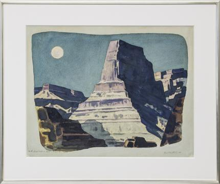 "Emil James Bisttram, ""Majestic Moonlight"", watercolor, 1944 for sale purchase consign auction denver Colorado art gallery museum"