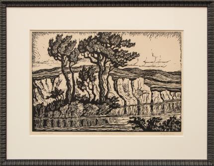 "Birger Sandzen, ""Sunshine Creek"", linoleum cut, 1935 painting fine art for sale purchase buy sell auction consign denver colorado art gallery museum"