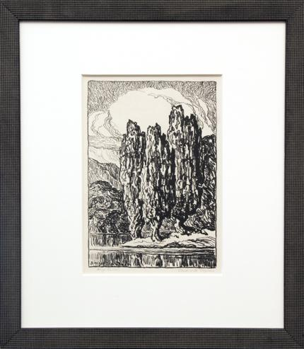 """Birger Sandzen, """"Pond with Poplars (Edition of 100)"""", lithograph, 1923 painting fine art for sale purchase buy sell auction consign denver colorado art gallery museum"""