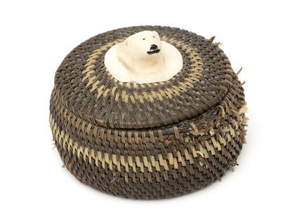 Inuit Baleen Basket 1970s polar bear eskimo alaska  19th century Native American Indian antique vintage art for sale purchase auction consign denver colorado art gallery museum