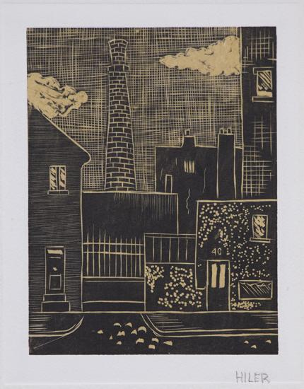 "Hilaire Hiler, ""Smokestack"", linoleum cut print linocut painting fine art for sale purchase buy sell auction consign denver colorado art gallery museum  new mexico artist"