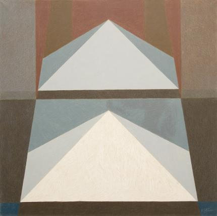 """Margo Hoff, """"Pyramid White"""", oil, circa 1960 abstract painting fine art for sale purchase buy sell auction consign denver colorado art gallery museum"""