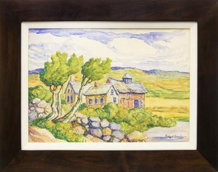 "Birger Sandzen, ""Kansas Farm"", watercolor, 1940 painting fine art for sale purchase buy sell auction consign denver colorado art gallery museum"