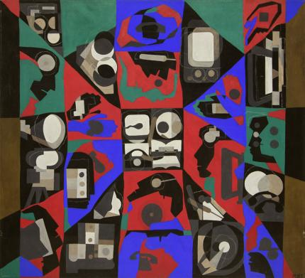 """Margo Hoff, """"Mediaman"""", mixed media women art woman abstract expressionist painting fine art for sale purchase buy sell auction consign denver colorado art gallery museum"""