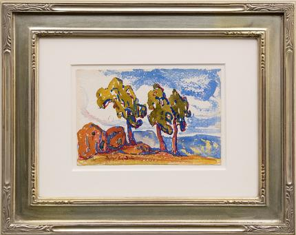 "Birger Sandzen, ""Untitled (Colorado Landscape with Red Rocks and Trees)"", watercolor, circa 1920 painting fine art for sale purchase buy sell auction consign denver colorado art gallery museum"