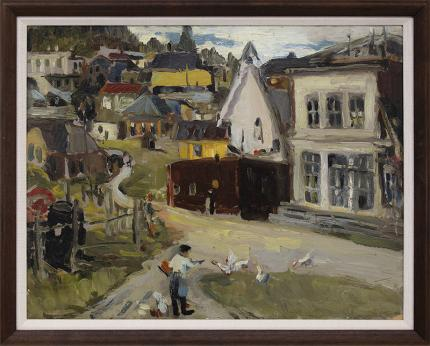 """Adma Green Kerr, """"Colorado Mining Town"""", oil painting, for sale, adma green, woman artist, geese, houses, architectural, landscape, green, yellow, white, brown, blue"""