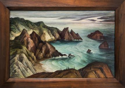 """Ethel Magafan, """"California Coast"""", 1943-1945 oil painting fine art for sale purchase buy sell auction consign denver colorado art gallery museum"""