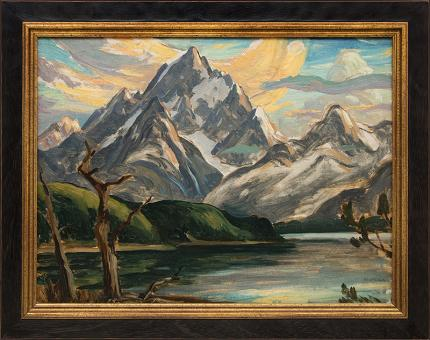 "Eliot Candee Clark, ""Untitled (The Grand Tetons and Jackson Lake)"", oil painting fine art for sale purchase buy sell auction consign denver colorado art gallery museum"