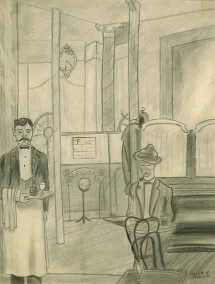 Hilaire Hiler drawing for sale, cafe, Man Smoking a Pipe, Paris Café, waiter, graphite, 1926