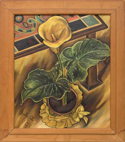 Eve Drewelowe Van Ek Yellow Calla still life oil painting fine art for sale purchase buy sell auction consign denver colorado art gallery museum