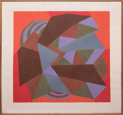 "Margo Hoff, ""Carnival Series: Zig-Zag"", conte crayon painting fine art for sale purchase buy sell auction consign denver colorado art gallery museum"