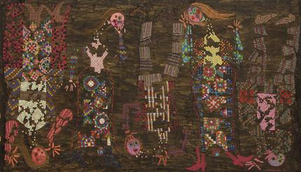Edward Marecak, Prismatic People in the Upside Down World, oil painting, 1989, art for sale, vintage, denver artist, brown, red, pink, orange, purple