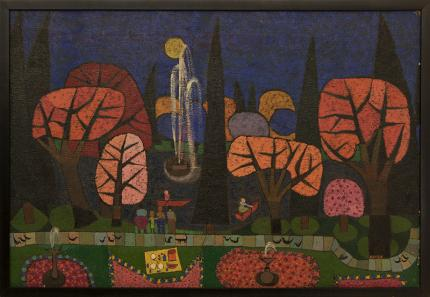 """Edward Marecak, """"Garfield Park Band Concert (Denver)"""", oil, 1970's painting fine art for sale purchase buy sell auction consign denver colorado art gallery museum"""