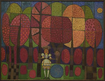 Edward Marecak, art for sale, The Enchantress, oil painting, 1966, midcentury, modern, mid-century, denver, cubist, abstract, modernist, red, yellow, green, blue, orange, gold, pink, vintage art