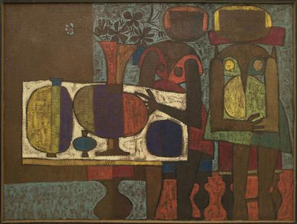 """Edward Marecak, """"The Potters"""", oil painting for sale, 1960s, mid-century modern, abstract, female figures, pottery, brown, purple, yellow, blue, gold, red"""