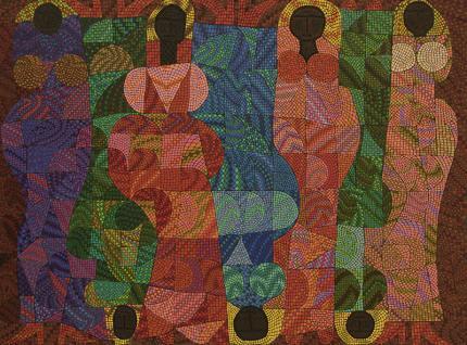 Edward Marecak, Sitting in Judgement, oil painting, for sale, 1991, denver artist, abstract, modernist, figurative, blue, red, pink, orange, coral, purple, green, gold, brown, black