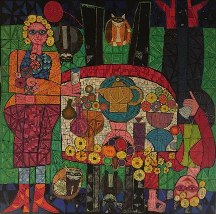 "Edward Marecak oil painting ""Two Mystic Ladies with Four Cats"", oil painting, vintage 1988, green, red, orange, black yellow semi-abstract"
