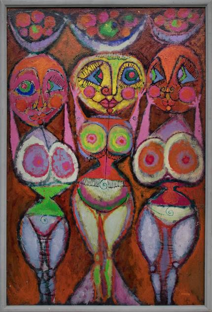 """Edward Marecak, """"Fertility Goddesses"""", oil, 1950 painting fine art for sale purchase buy sell auction consign denver colorado art gallery museum"""