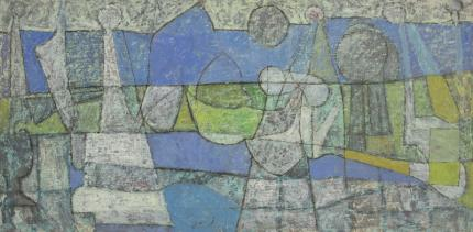 Edward Marecak, Abstract Painting, 1952, blue, gray, green, Denver modernism, mid-century modern, abstract art for sale, vintage, colorado