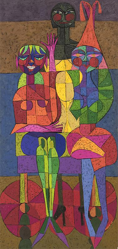 """Edward Marecak painting for sale, """"The Three Fates Decide On The PTA"""", oil, 1968, vintage art, parent teacher association, abstract, cubist, primary colors"""