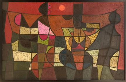 "Edward Marecak, ""The Argument"", oil, 1966 colorado artist abstract expressionist modernist denver painter artist"