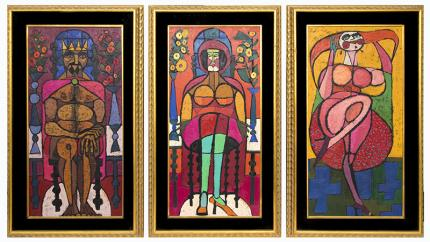 """Edward Marecak, """"The Dance Of Salome"""" Triptych, oil painting, for sale, 1967, 1960s, vintage, art for sale, Abstract, figurative, nude, biblical art, dance of the seven veils, fuchsia, red, pink, gold, yellow, blue, brown, green, purple"""