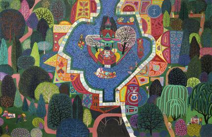 Edward Marecak, City Park, Denver, Colorado, oilj painting for sale, vintage, 20th century, abstract, modern, modernist, cubist, fountain, trees, figure, blue, green, red, pink, white, orange, yellow, purple