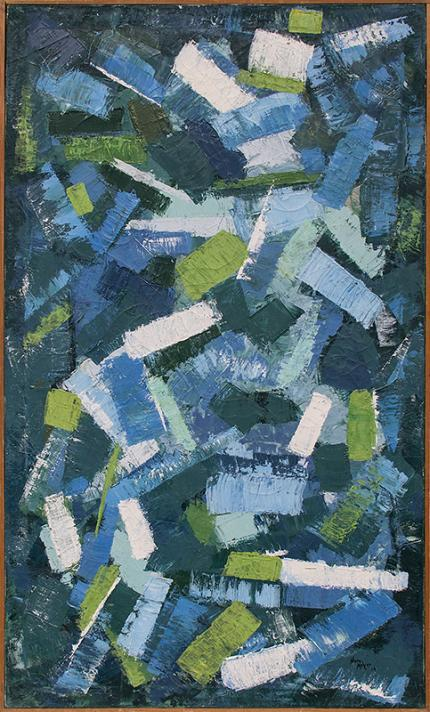 "Nancy Nelson Mayer, ""Confetti"", oil, 1963 for sale purchase consign auction denver Colorado art gallery museum"