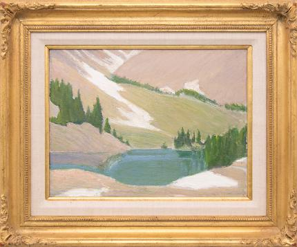 "Albert Stokes Bancroft, ""Mountain Lake in Spring (Colorado)"", oil, for sale purchase consign auction denver Colorado art gallery museum"