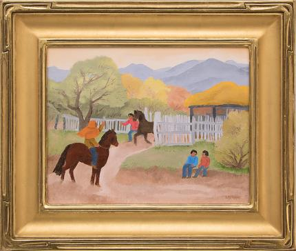 "Barbara Latham, ""For a Sunday Ride"", oil painting fine art for sale purchase buy sell auction consign denver colorado art gallery museum"