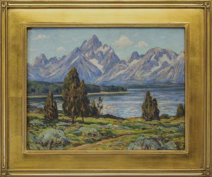 "Eliot Candee Clark, ""Untitled (Jackson Lake and Grand Tetons)"", oil, 1925, for sale purchase consign auction denver Colorado art gallery museum"