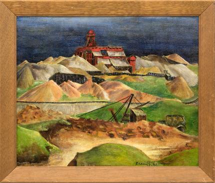 Eldora Lorenzini Fitzhugh Mine, near Leadville, Colorado historical modernist landscape oil Fitzhugh Mine, near Leadville, Colorado