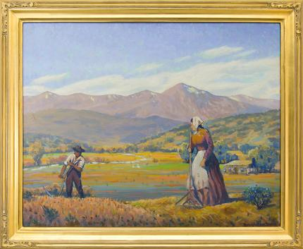 """Harold Vincent Skene, """"Reaping"""", oil, 1961 landscape painting fine art for sale purchase buy sell auction consign denver colorado art gallery museum"""