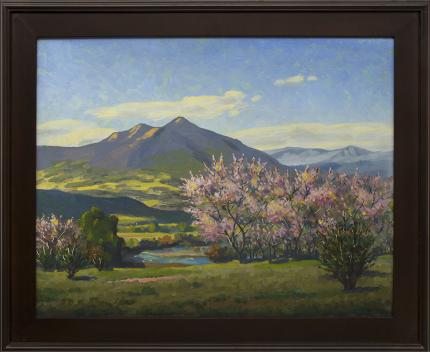 "Harold Vincent Skene, ""Peach Blossoms"", oil, 1958 for sale purchase consign auction denver Colorado art gallery museum"