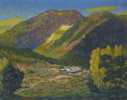 """Harold Vincent Skene, """"Camp Bird Mine (Ouray, Colorado)"""", vintage oil landscape painting for sale, 1965, mountains, summer, spring, green, aspen trees, cabin, telluride"""