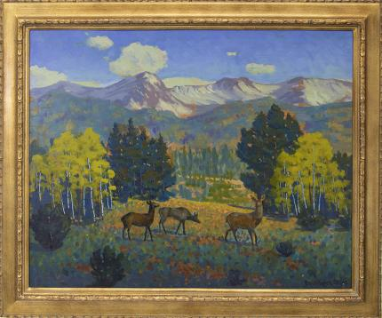 "Harold Vincent Skene, ""Threesome (Yellowstone)"", oil, 1966 for sale purchase consign auction denver Colorado art gallery museum"