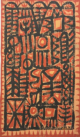 """Edward Marecak, """"Suns and Trees"""", 1960's vintage abstract painting for sale, denver, colorado, modernist art, mid-century modern, orange, red, black, yellow"""