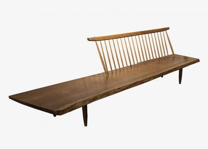 "George Nakashima, ""Conoid Bench"", american walnut furniture mid-century modern 1960s for sale purchase auction gallery museum"