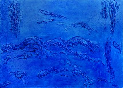 "Edward Goldman, ""Blue"", mixed media, 1969, for sale purchase consign auction denver Colorado art gallery museum"