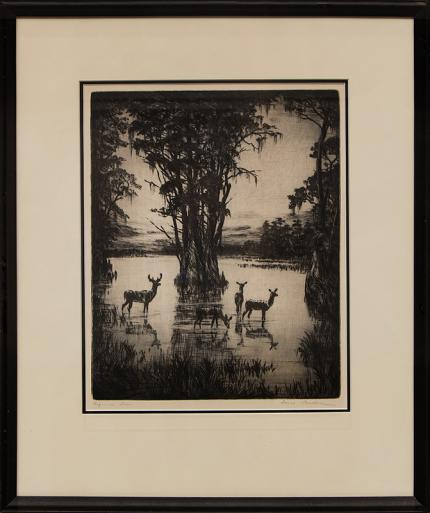 "Hans Kleiber, ""Virgina Deer"", etching painting fine art for sale purchase buy sell auction consign denver colorado art gallery museum"