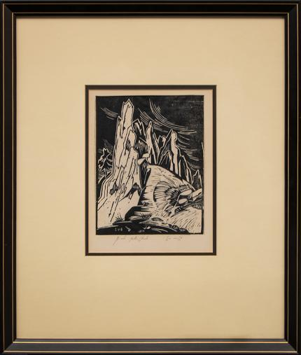 """Eve Drewelowe, """"Red Rocks - Boulder, Colorado"""", woodcut (Woodblock) painting fine art for sale purchase buy sell auction consign denver colorado art gallery museum"""