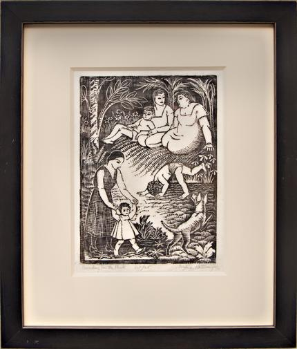 "Mina Conant Billmyer, ""Sunday in the Park 10/25"", woodcut (Woodblock) painting fine art for sale purchase buy sell auction consign denver colorado art gallery museum"