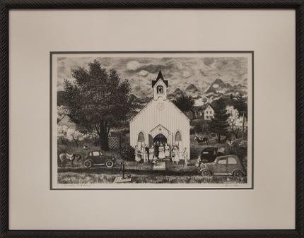 Doris Lee Country Wedding lithograph 1942 AAA american scene