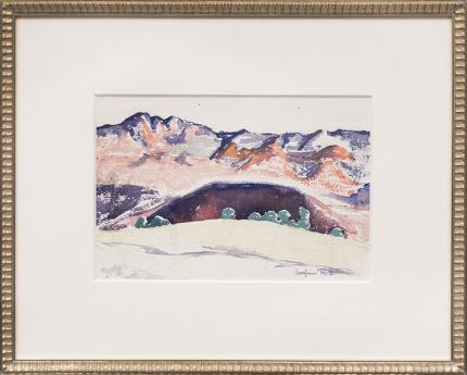 Virginia true colorado desert mountain landscape watercolor painting fine art for sale purchase buy sell auction consign denver colorado art gallery museum