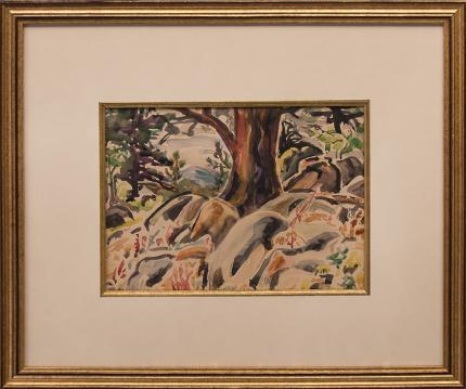 "Elisabeth Spalding, ""Untitled (Forest Interior, Colorado)"", watercolor, October 1933 painting fine art for sale purchase buy sell auction consign denver colorado art gallery museum"