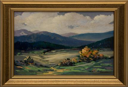 """Mildred Pneuman, """"Untitled (Colorado Mountain Landscape)"""", oil painting fine art for sale purchase buy sell auction consign denver colorado art gallery museum"""